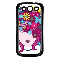Beautiful Gothic Woman With Flowers And Butterflies Hair Clipart Samsung Galaxy S3 Back Case (black) by BangZart