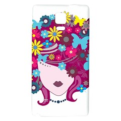 Beautiful Gothic Woman With Flowers And Butterflies Hair Clipart Galaxy Note 4 Back Case by BangZart