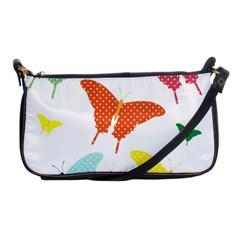 Beautiful Colorful Polka Dot Butterflies Clipart Shoulder Clutch Bags by BangZart