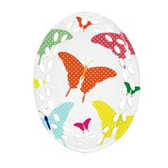 Beautiful Colorful Polka Dot Butterflies Clipart Oval Filigree Ornament (two Sides) by BangZart