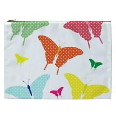 Beautiful Colorful Polka Dot Butterflies Clipart Cosmetic Bag (xxl)  by BangZart