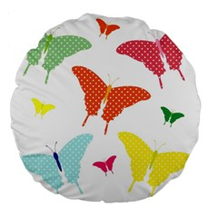 Beautiful Colorful Polka Dot Butterflies Clipart Large 18  Premium Flano Round Cushions by BangZart