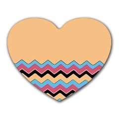 Chevrons Patterns Colorful Stripes Heart Mousepads by BangZart