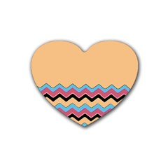 Chevrons Patterns Colorful Stripes Rubber Coaster (heart)  by BangZart