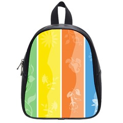 Floral Colorful Seasonal Banners School Bags (small)  by BangZart