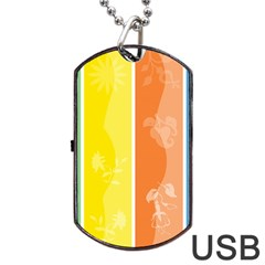 Floral Colorful Seasonal Banners Dog Tag Usb Flash (one Side) by BangZart