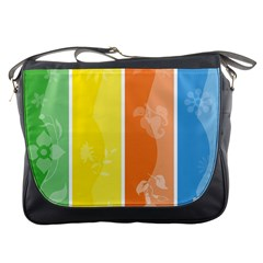Floral Colorful Seasonal Banners Messenger Bags by BangZart