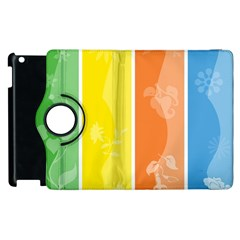 Floral Colorful Seasonal Banners Apple Ipad 2 Flip 360 Case by BangZart