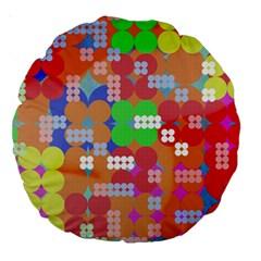 Abstract Polka Dot Pattern Large 18  Premium Round Cushions by BangZart