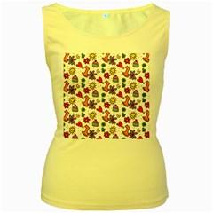 Cute Doodle Wallpaper Pattern Women s Yellow Tank Top