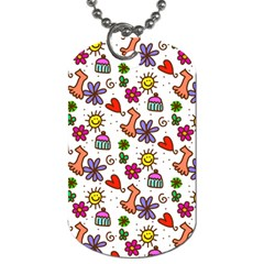 Cute Doodle Wallpaper Pattern Dog Tag (two Sides) by BangZart