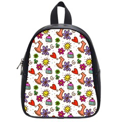 Cute Doodle Wallpaper Pattern School Bags (small)  by BangZart