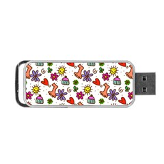 Cute Doodle Wallpaper Pattern Portable Usb Flash (two Sides) by BangZart