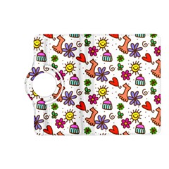 Cute Doodle Wallpaper Pattern Kindle Fire Hd (2013) Flip 360 Case by BangZart