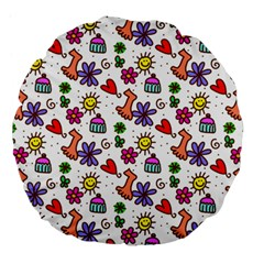 Cute Doodle Wallpaper Pattern Large 18  Premium Flano Round Cushions by BangZart