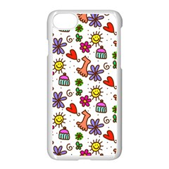 Cute Doodle Wallpaper Pattern Apple Iphone 7 Seamless Case (white) by BangZart