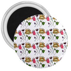 Handmade Pattern With Crazy Flowers 3  Magnets by BangZart