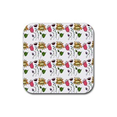 Handmade Pattern With Crazy Flowers Rubber Coaster (square)  by BangZart
