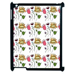 Handmade Pattern With Crazy Flowers Apple Ipad 2 Case (black) by BangZart