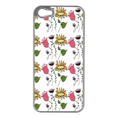 Handmade Pattern With Crazy Flowers Apple Iphone 5 Case (silver) by BangZart