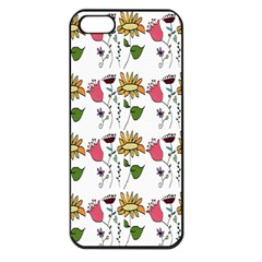 Handmade Pattern With Crazy Flowers Apple Iphone 5 Seamless Case (black) by BangZart