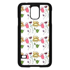 Handmade Pattern With Crazy Flowers Samsung Galaxy S5 Case (black)