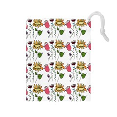 Handmade Pattern With Crazy Flowers Drawstring Pouches (large)  by BangZart