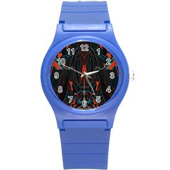 Doodle Art Pattern Background Round Plastic Sport Watch (s) by BangZart