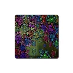 Grunge Rose Background Pattern Square Magnet