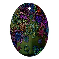 Grunge Rose Background Pattern Oval Ornament (two Sides) by BangZart