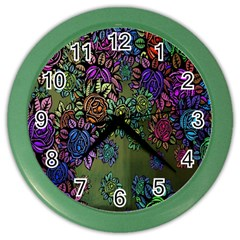 Grunge Rose Background Pattern Color Wall Clocks by BangZart