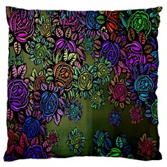 Grunge Rose Background Pattern Large Cushion Case (two Sides) by BangZart