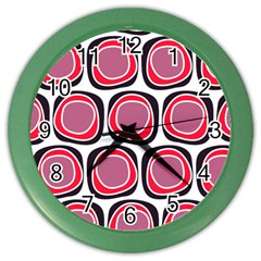 Wheel Stones Pink Pattern Abstract Background Color Wall Clocks by BangZart