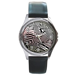 Abstract Fauna Pattern When Zebra And Giraffe Melt Together Round Metal Watch by BangZart