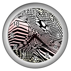 Abstract Fauna Pattern When Zebra And Giraffe Melt Together Wall Clocks (silver)  by BangZart