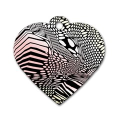 Abstract Fauna Pattern When Zebra And Giraffe Melt Together Dog Tag Heart (one Side) by BangZart