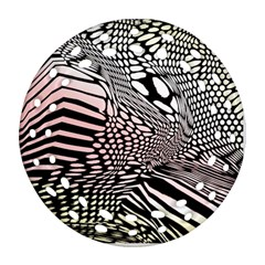Abstract Fauna Pattern When Zebra And Giraffe Melt Together Ornament (round Filigree) by BangZart