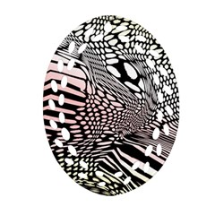 Abstract Fauna Pattern When Zebra And Giraffe Melt Together Oval Filigree Ornament (two Sides) by BangZart