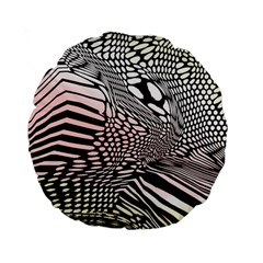Abstract Fauna Pattern When Zebra And Giraffe Melt Together Standard 15  Premium Flano Round Cushions by BangZart