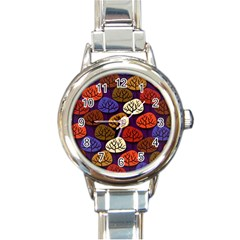 Colorful Trees Background Pattern Round Italian Charm Watch by BangZart