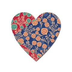 Floral Seamless Pattern Vector Texture Heart Magnet by BangZart