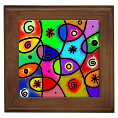 Digitally Painted Colourful Abstract Whimsical Shape Pattern Framed Tiles by BangZart