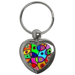 Digitally Painted Colourful Abstract Whimsical Shape Pattern Key Chains (heart)  by BangZart