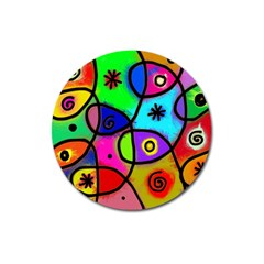 Digitally Painted Colourful Abstract Whimsical Shape Pattern Magnet 3  (round) by BangZart