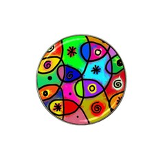 Digitally Painted Colourful Abstract Whimsical Shape Pattern Hat Clip Ball Marker by BangZart