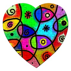 Digitally Painted Colourful Abstract Whimsical Shape Pattern Jigsaw Puzzle (heart) by BangZart