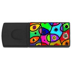 Digitally Painted Colourful Abstract Whimsical Shape Pattern Usb Flash Drive Rectangular (4 Gb) by BangZart