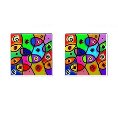 Digitally Painted Colourful Abstract Whimsical Shape Pattern Cufflinks (square) by BangZart