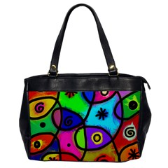 Digitally Painted Colourful Abstract Whimsical Shape Pattern Office Handbags by BangZart