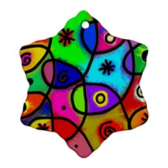 Digitally Painted Colourful Abstract Whimsical Shape Pattern Ornament (snowflake) by BangZart